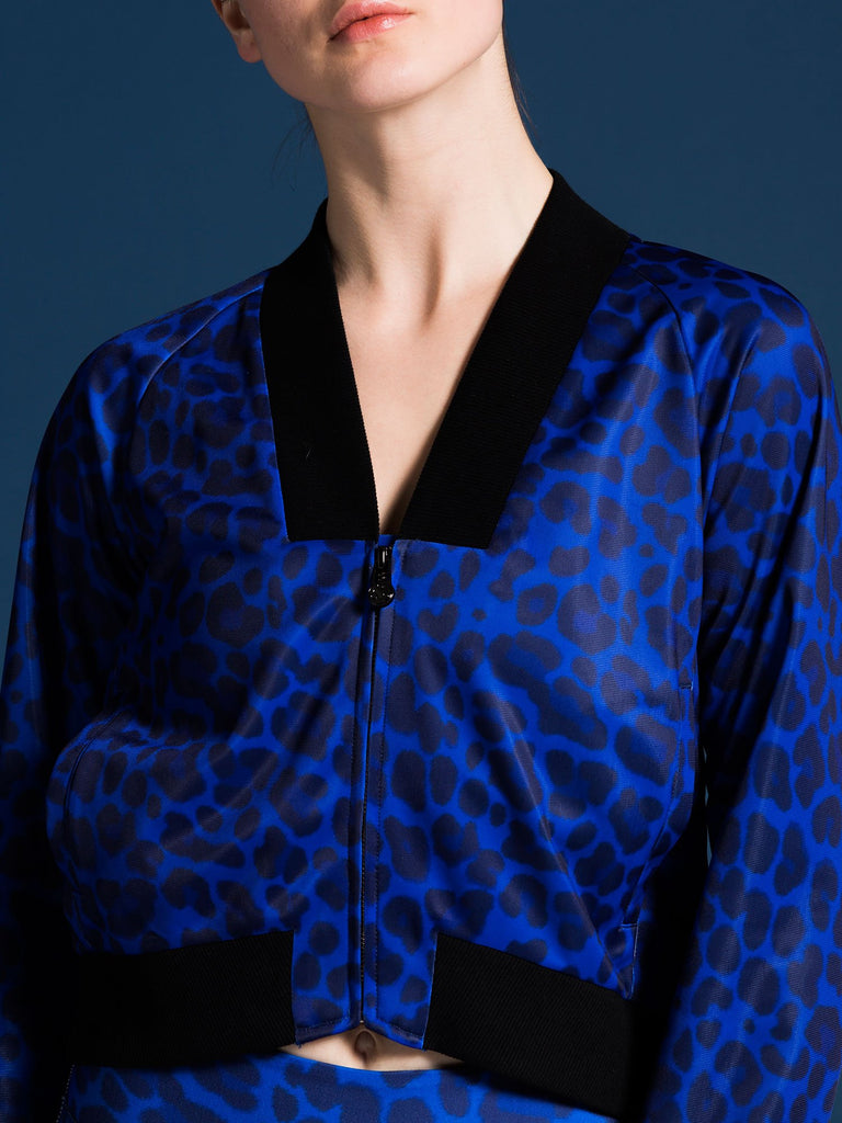 RELAXED FIT JACKET, BLUE LEOPARD