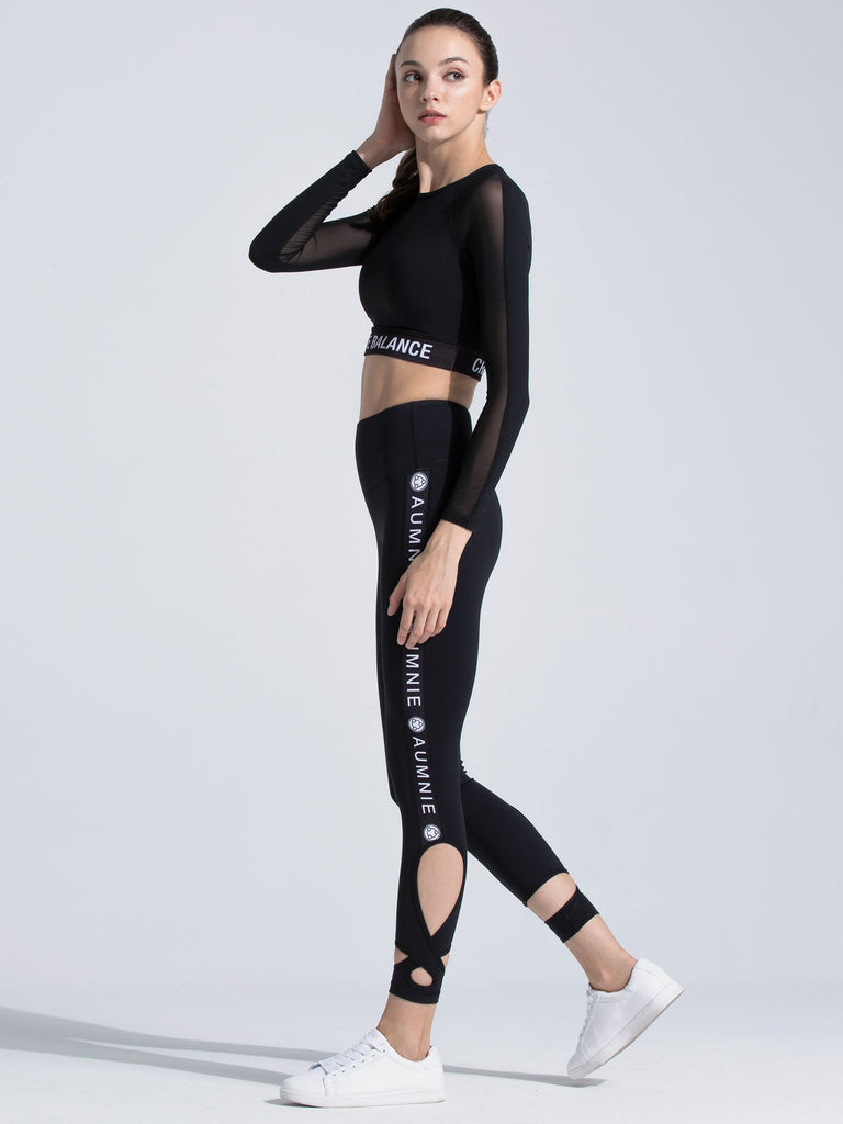 CREATION CROPPED TOP, BLACK/BLACK MESH