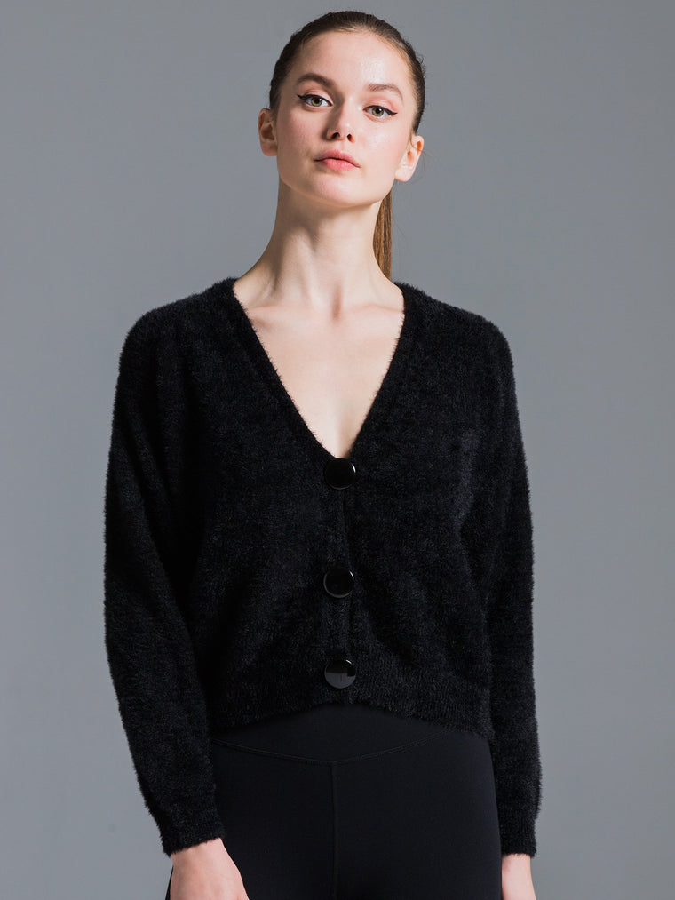 V-NECK FLUFFY CARDIGAN, BLACK
