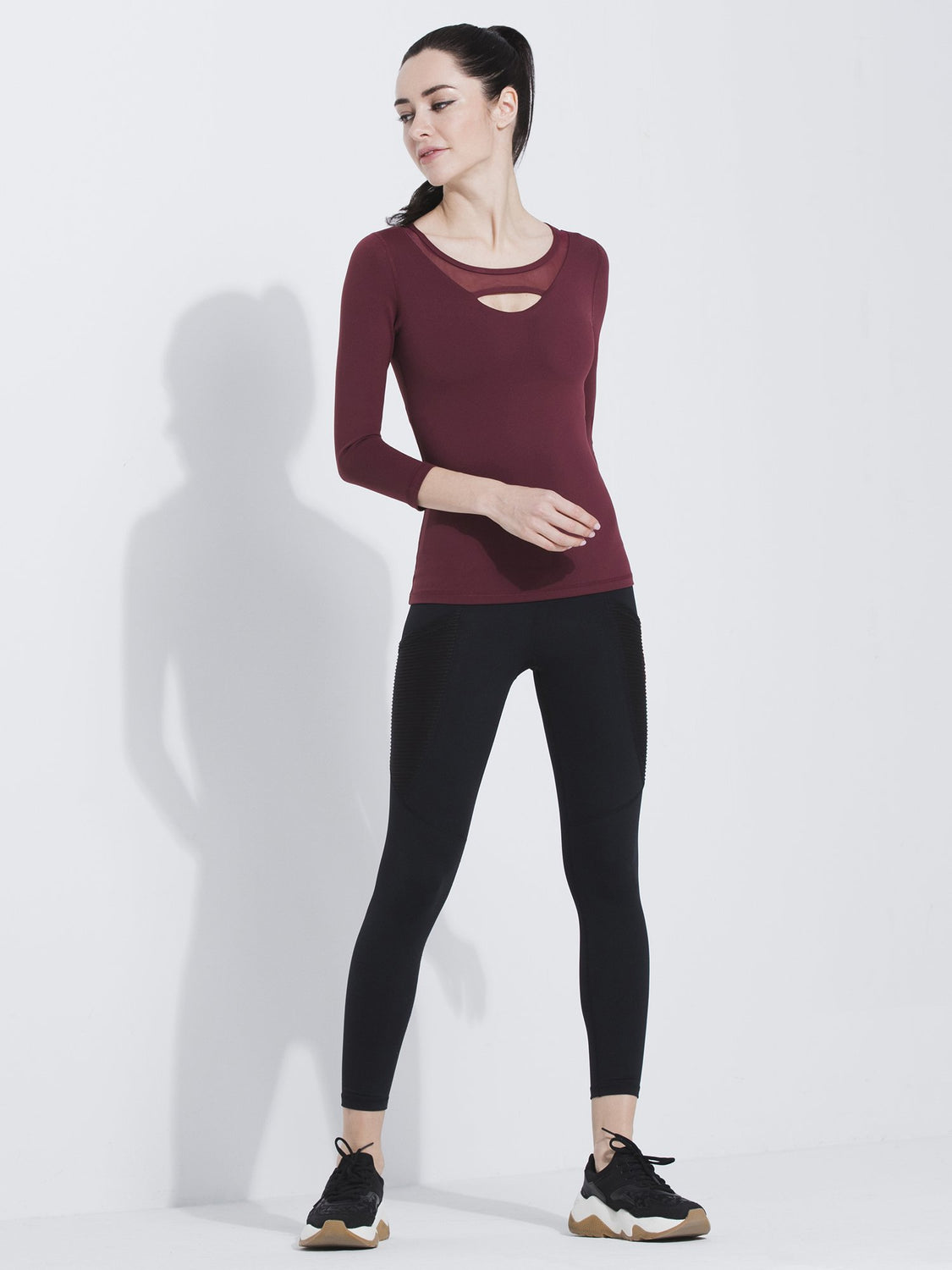 PARALLEL 3/4 SLEEVE TEE, BORDEAUX