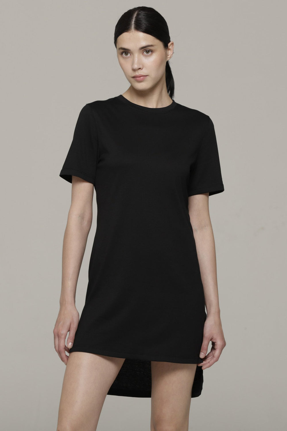 HI LO TEE DRESS , BLACK
