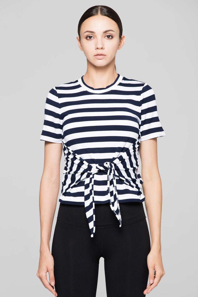 FITTED TEE WITH FRONT AND BACK TIE, NAVY STRIPES