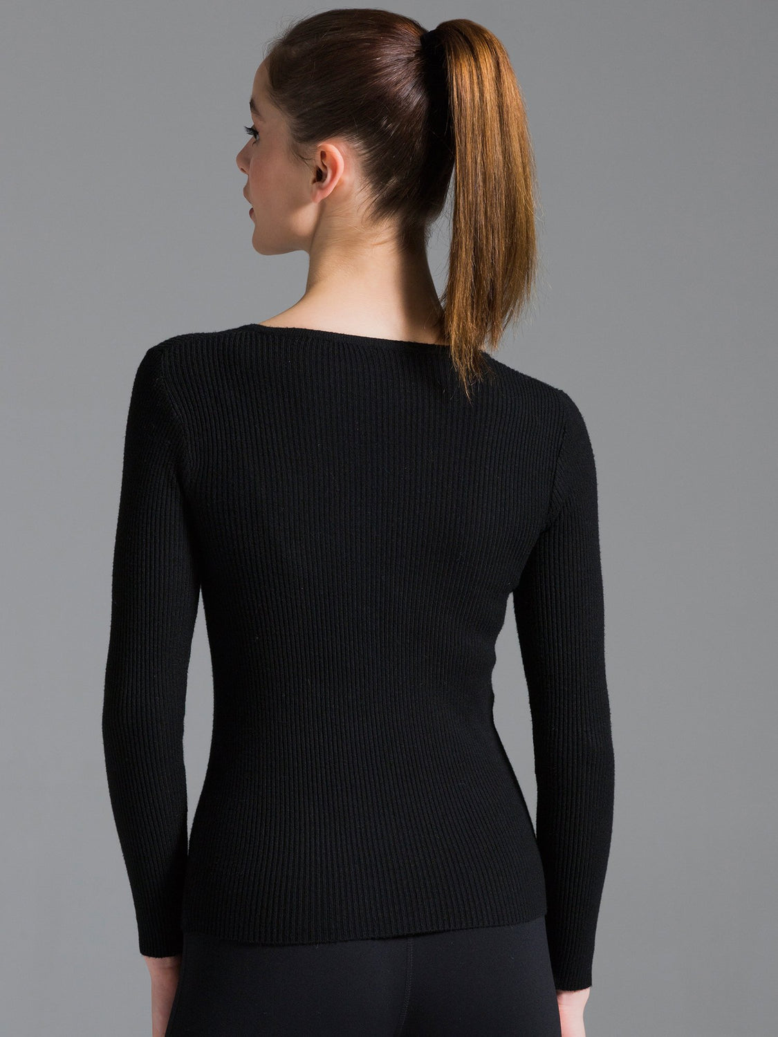 RIBBED HENLEY TEE, BLACK