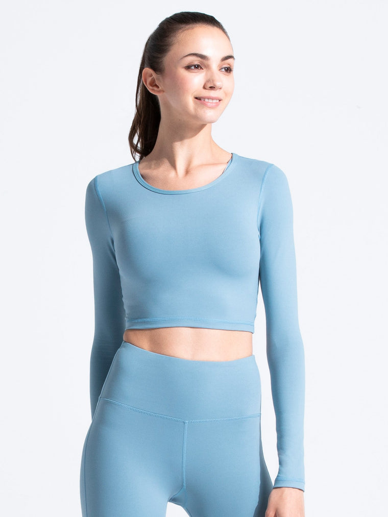 LONG SLEEVE CROPPED TEE, STORM