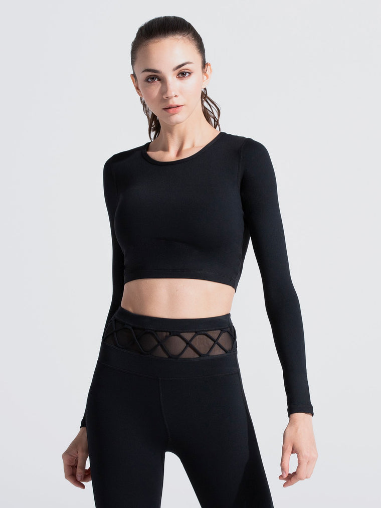 LONG SLEEVE CROPPED TEE, BLACK