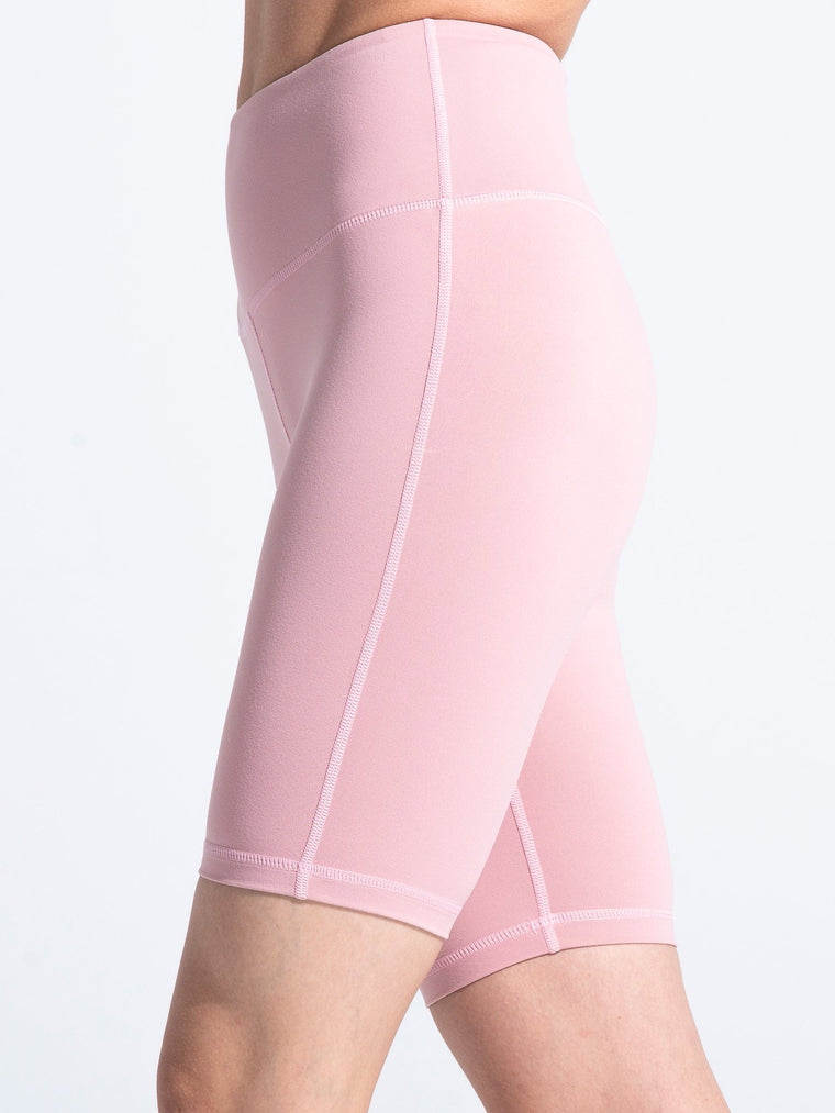 HIGH WAIST BIKER SHORTS,BLUSH