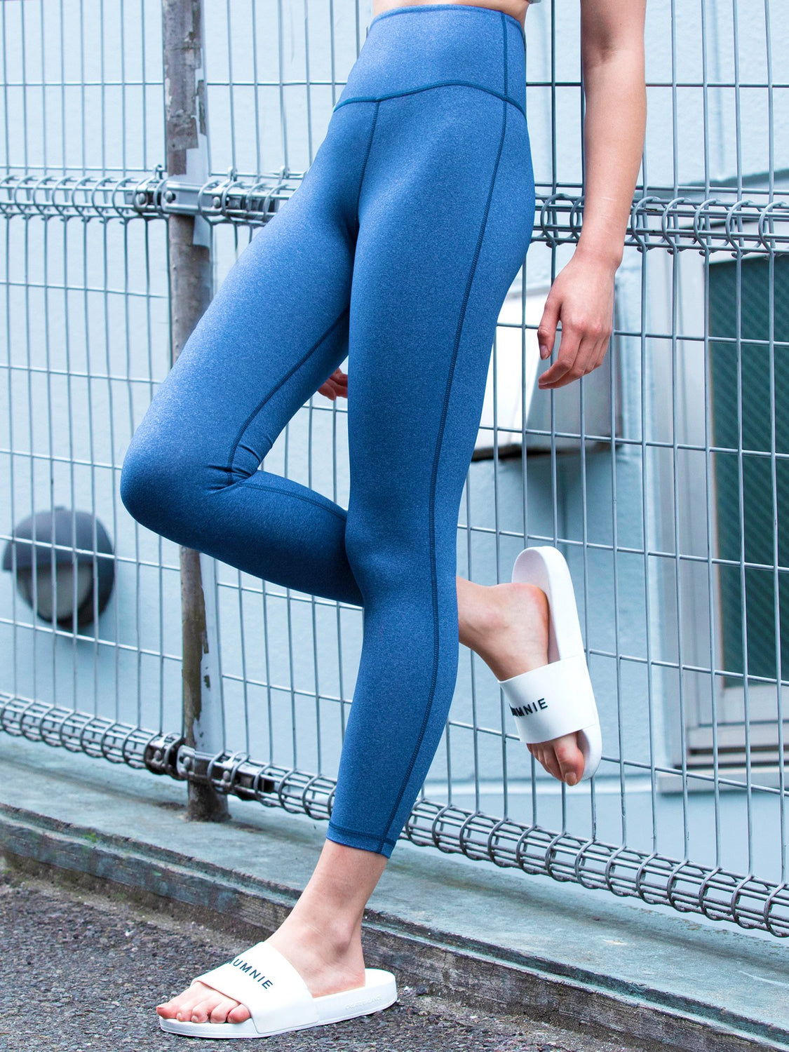 HIGH WAIST ANKLE CROPS, HEATHER BLUE