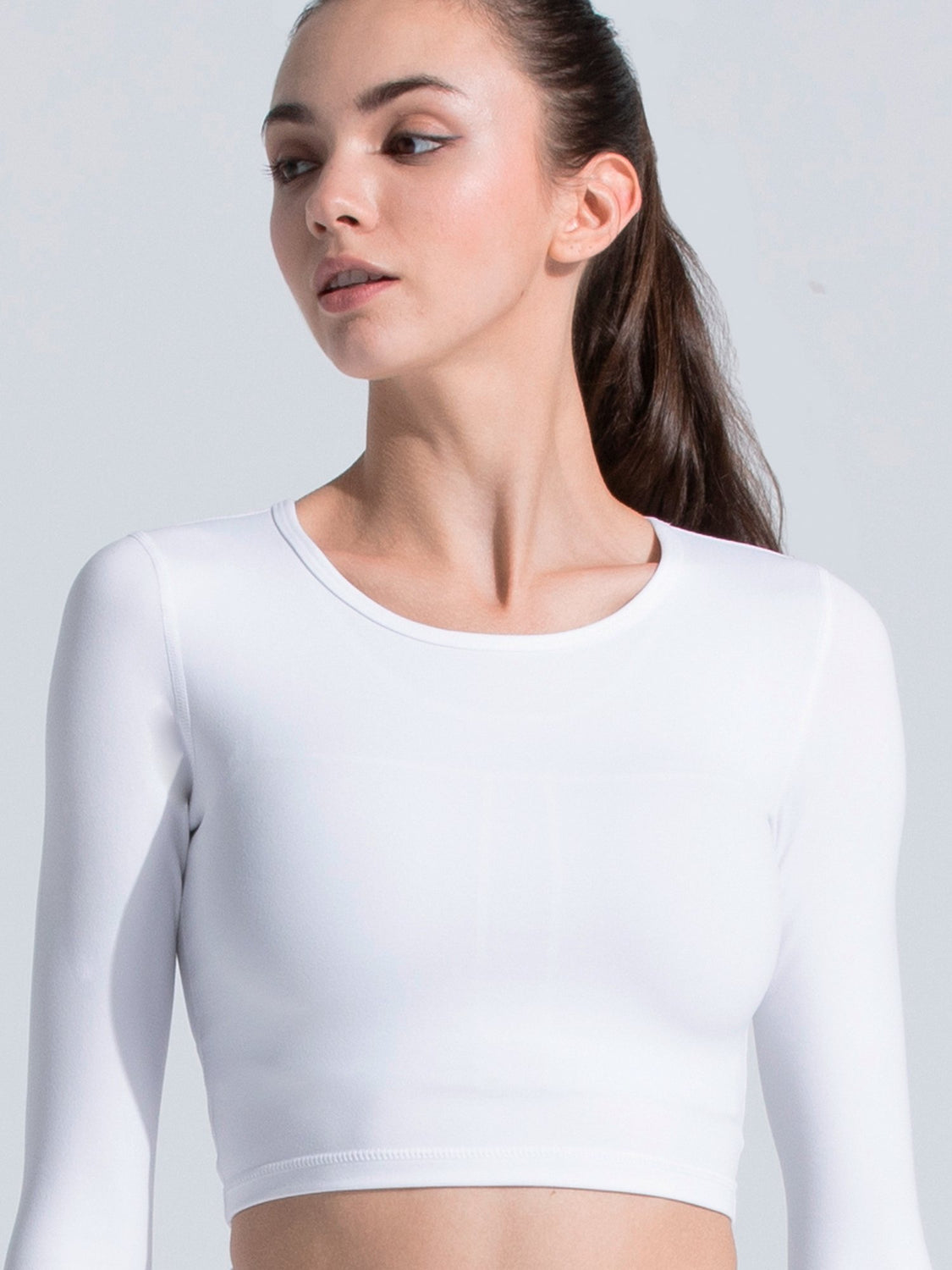 LONG SLEEVE CROPPED TEE,WHITE