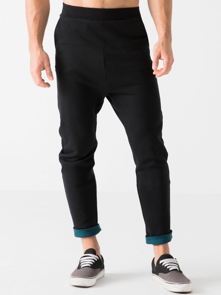 LOW RISE CUFF PANTS, BLACK