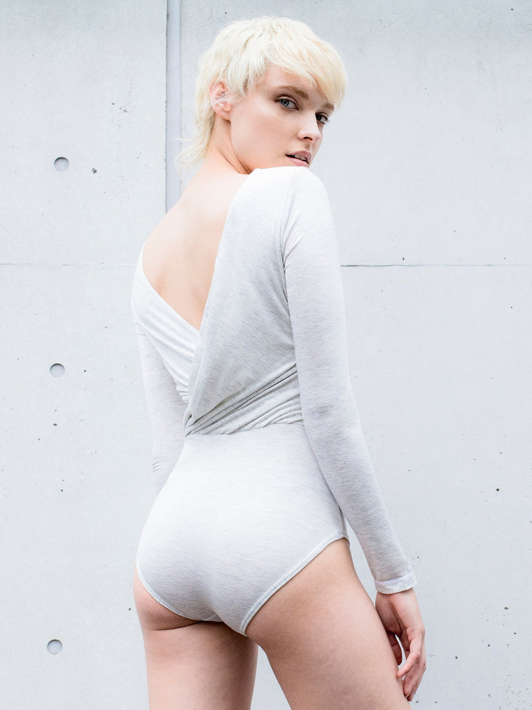 KARMA BODYSUIT, LIGHT HEATHER GREY