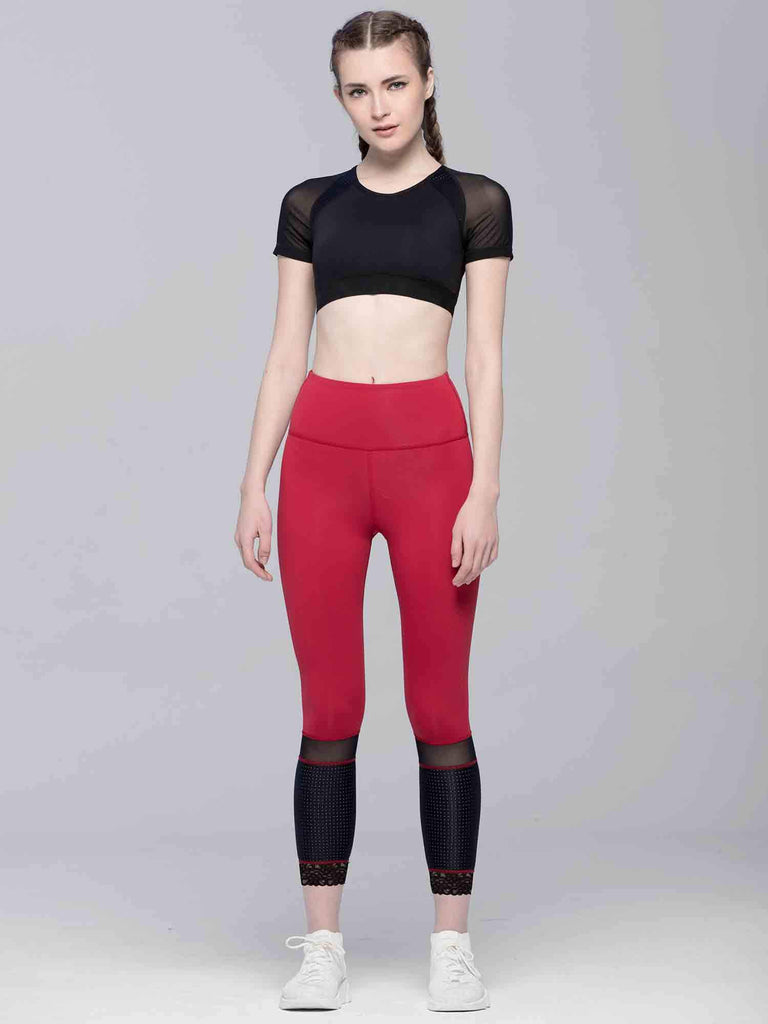 INTENSITY CROPPED TEE , BLACK/BLACK MESH
