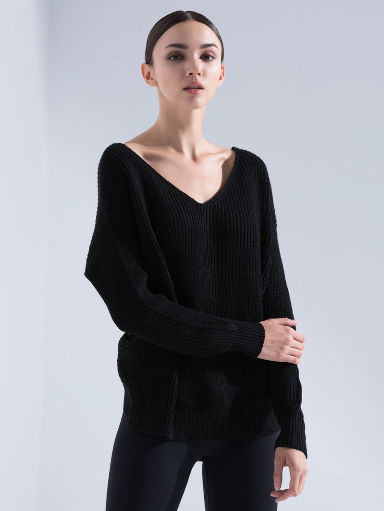 KNOTTED OPEN BACK SWEATER
