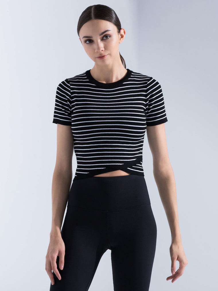 KNITTED PINSTRIPE TEE