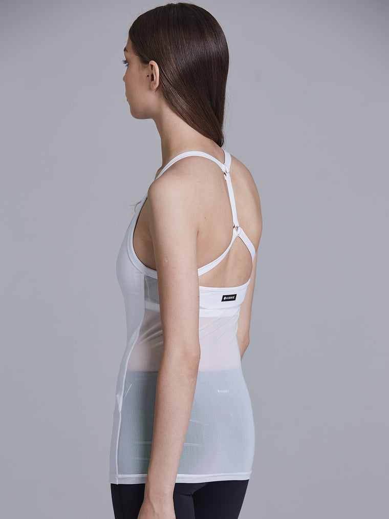 REFLECTION TANK, WHITE/WHITE MESH
