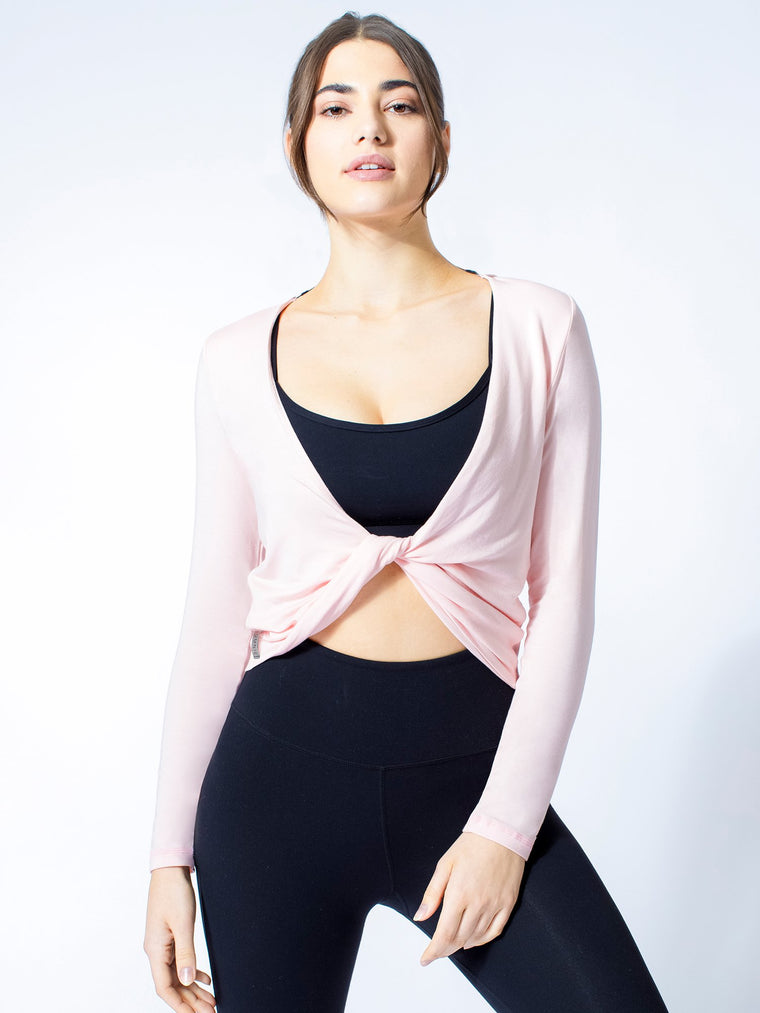 LONG SLEEVE TWIST TEE, BALLET PINK