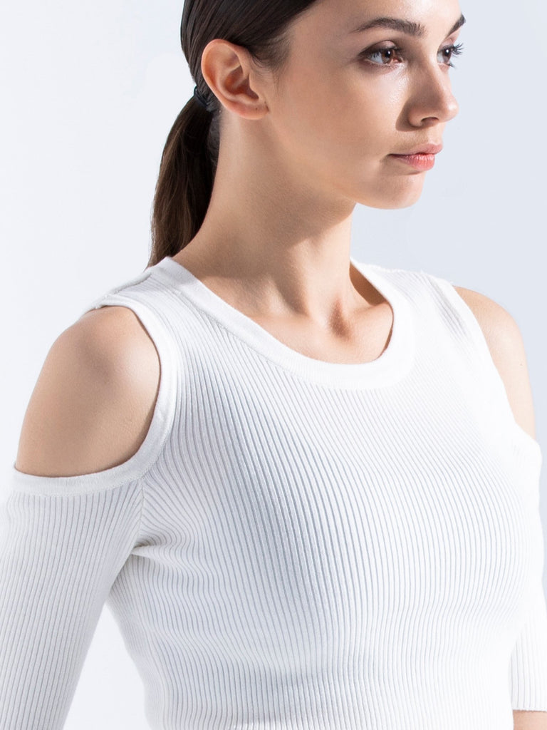 KNITTED EXPOSED SHOULDER TEE, WHITE