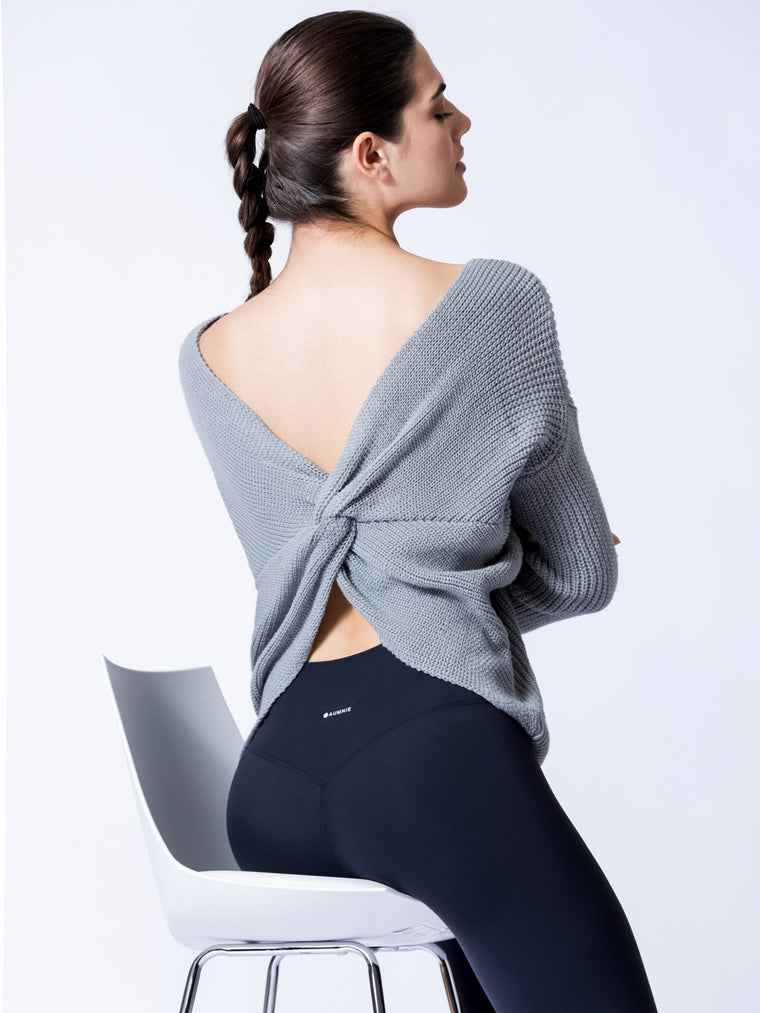 KNOTTED OPEN BACK SWEATER, ICE GREY