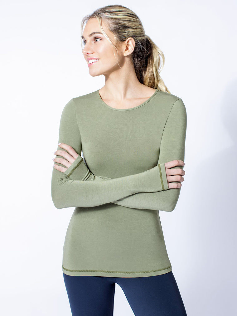 PETAL LONG SLEEVE TEE, SAGE