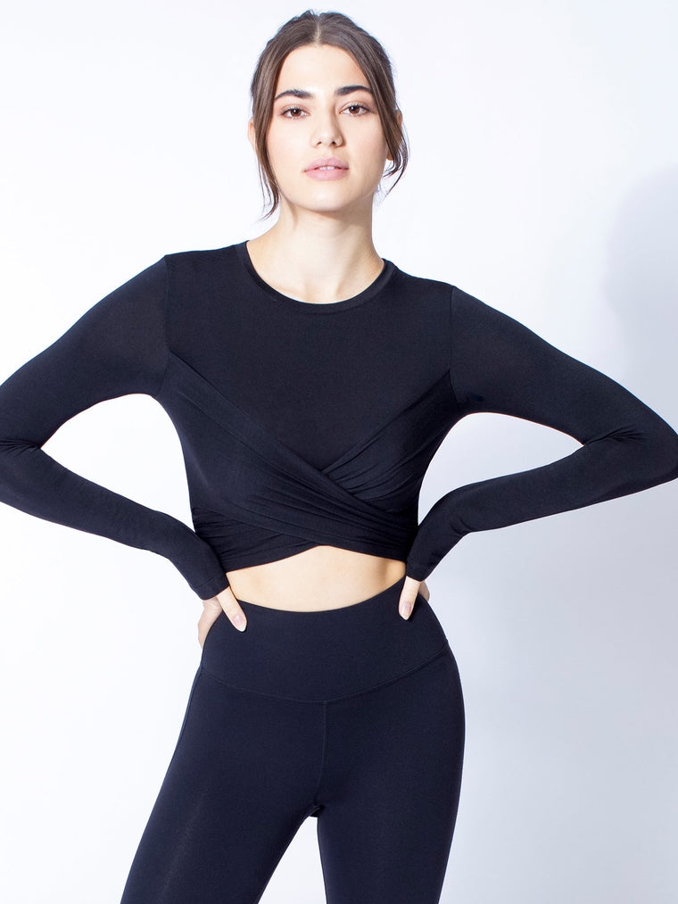 LONG SLEEVE CT WRAP TEE, BLACK