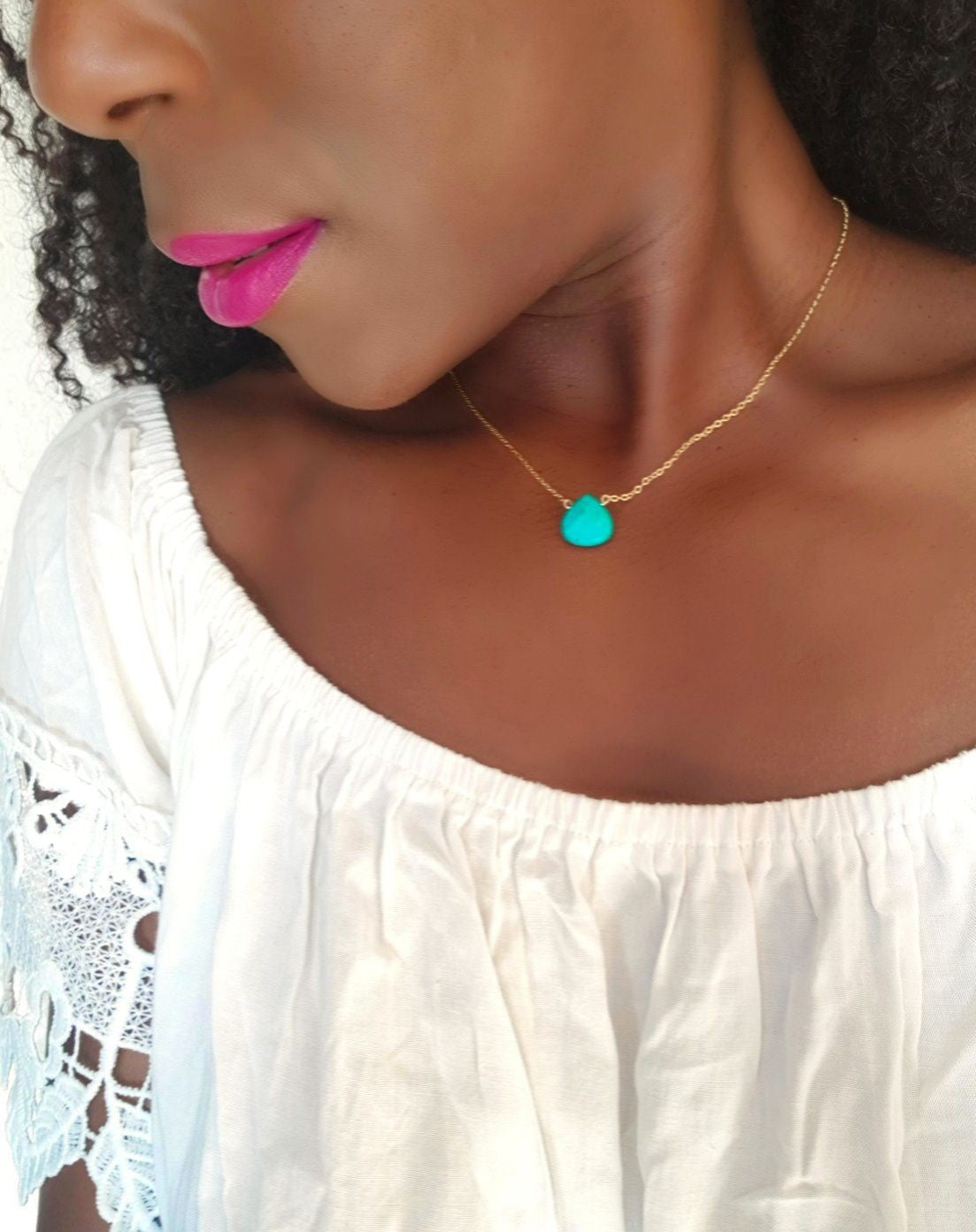 BAY TURQUOISE HOWLITE DAINTY NECKLACE