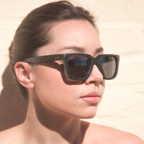 BLACK EBONY WOOD, BLUE MIRROR SUNGLASSES