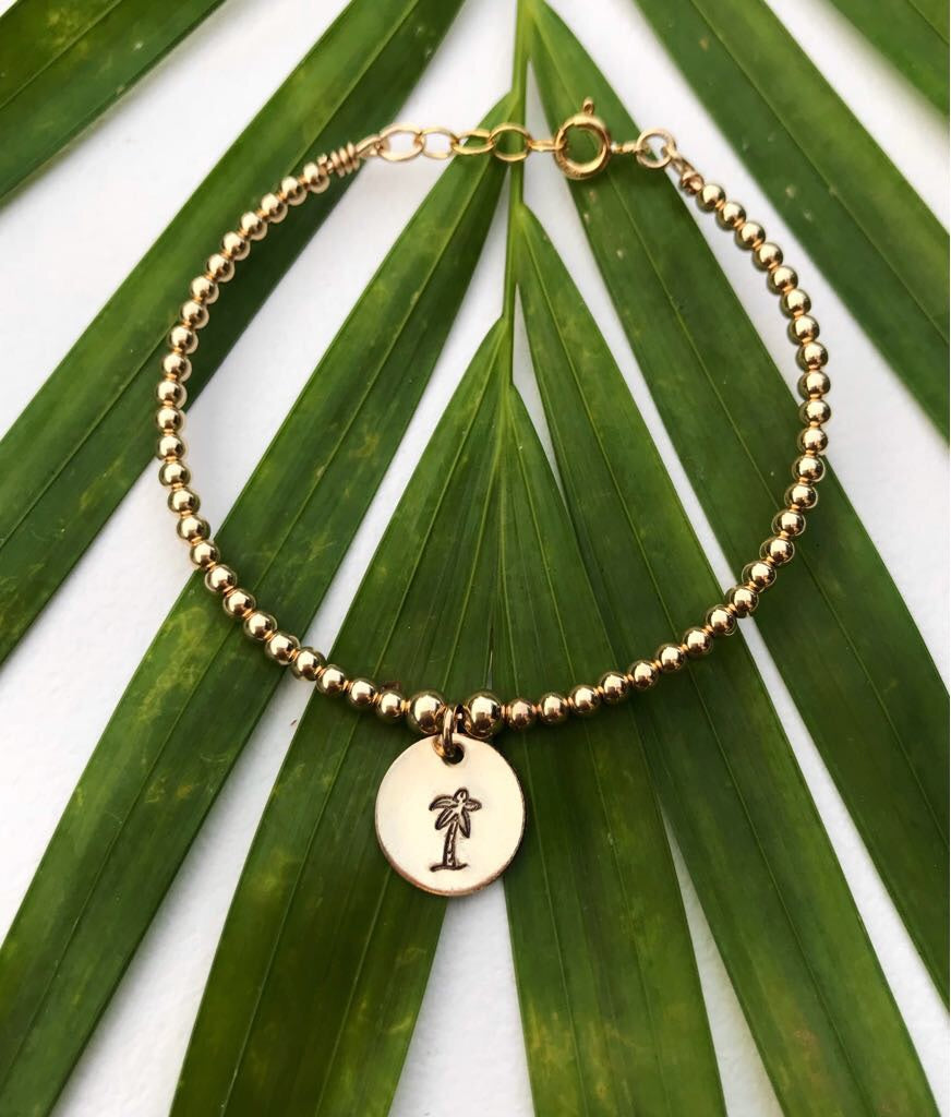 TROPSHOP PALM TREE GOLD BEAD BRACELET