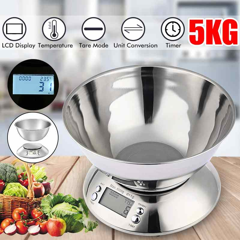 Stainless Steel Digital Kitchen Scale with 2L Removable Bowl Temperature Timer Electronic Food Balance Weight Scale - GarciaWeightLoss