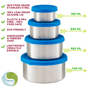Stainless Steel Food Storage Containers ~ Set of 4 with Leak-Proof Silicone Lids