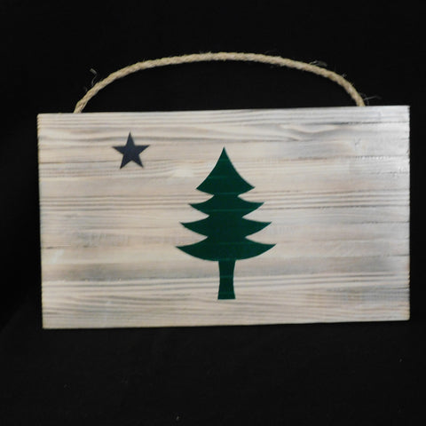 Maine Flag Works - wooden Maine flag