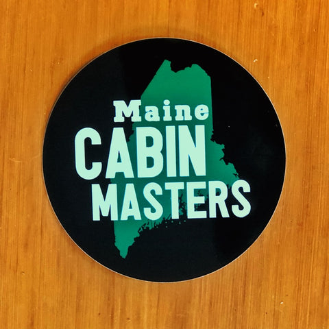 Maine Cabin Masters Sticker - black with green State of Maine