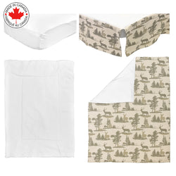 BEBELELO- 4 PIECE BEDDING FOR BABY GREEN AND BEIGE WITH DEER PATTERN - # 634