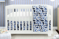 BEBELELO- 4 PIECE BEDDING FOR BLUE AND WHITE BABIES WITH DINOSAUR PATTERN - # 619