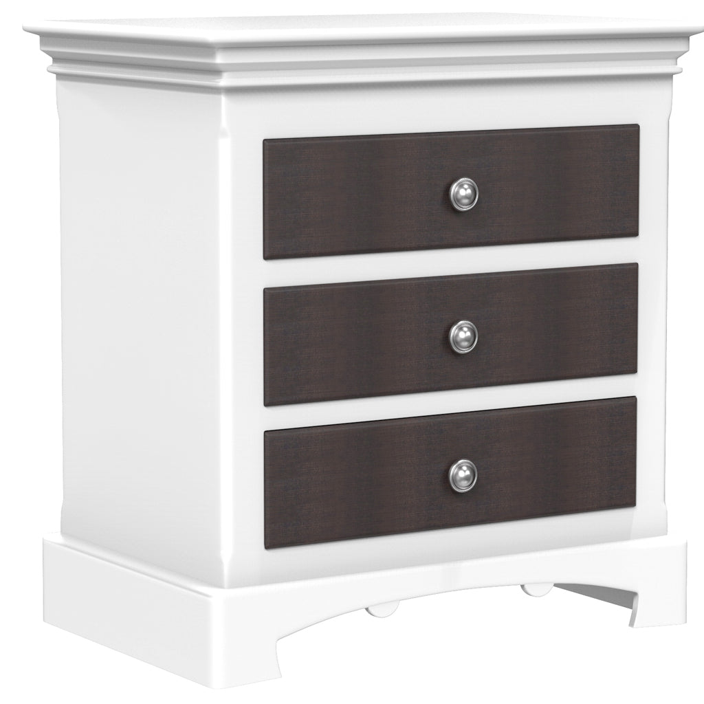 Bedside Table - 3 Drawers - Royal Collection - Adult - White and Barn Wood