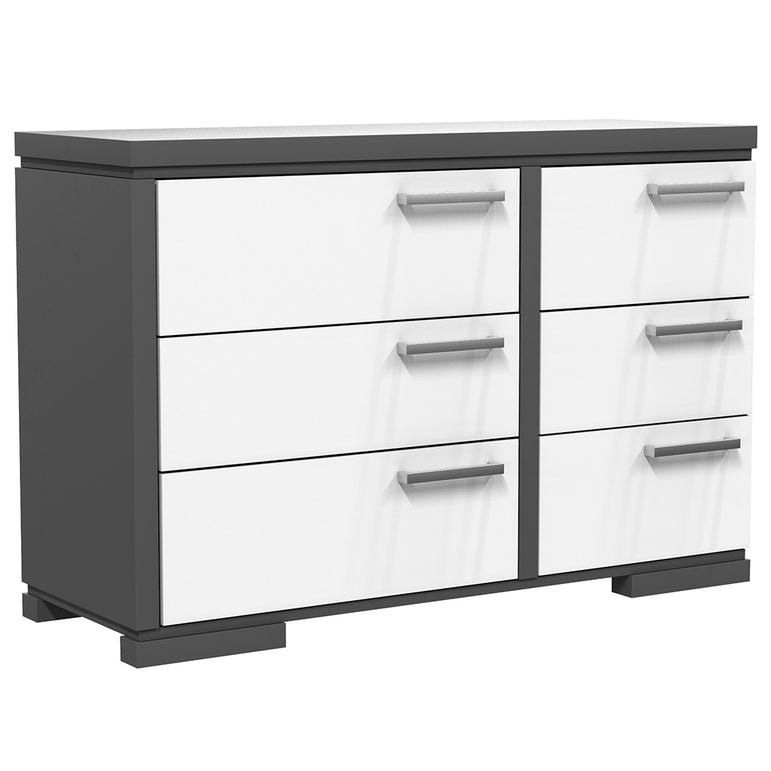 Double Desk - 6 Drawers - Joe - Dark Gray and White
