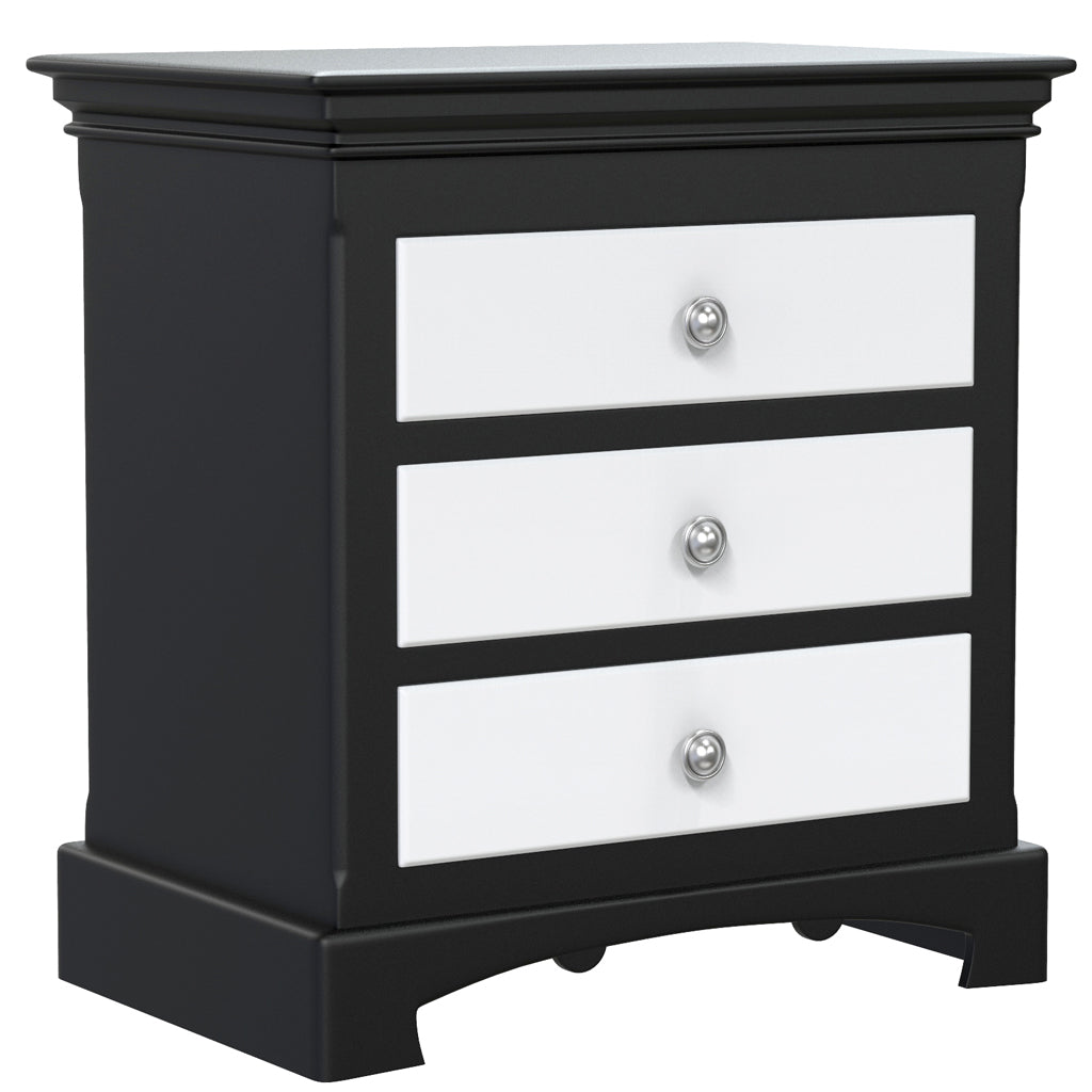 Bedside Table - 3 Drawers - Royal Collection - Adult - Black and White