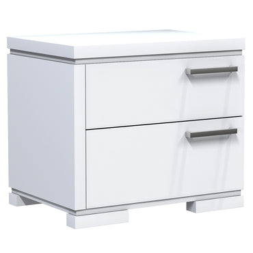 Bedside Table - 2 Drawers - Joe - White