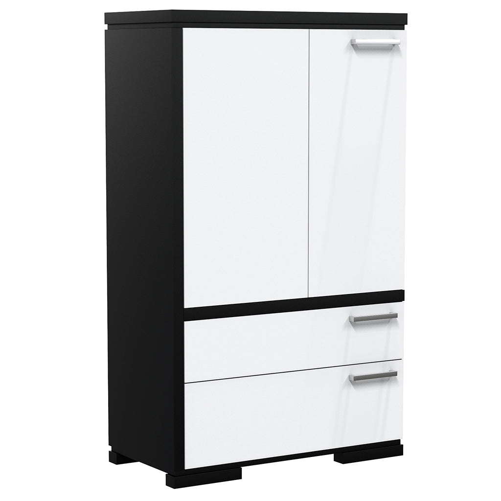 Cabinet - 2 Drawers and 2 Doors - Joe - Black and White