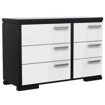 Double Desk - 6 Drawers - Joe - Black and White