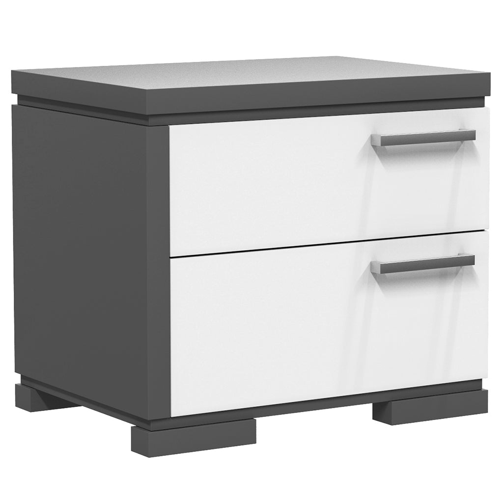 Bedside Table - 2 Drawers - Joe - Dark Gray and White