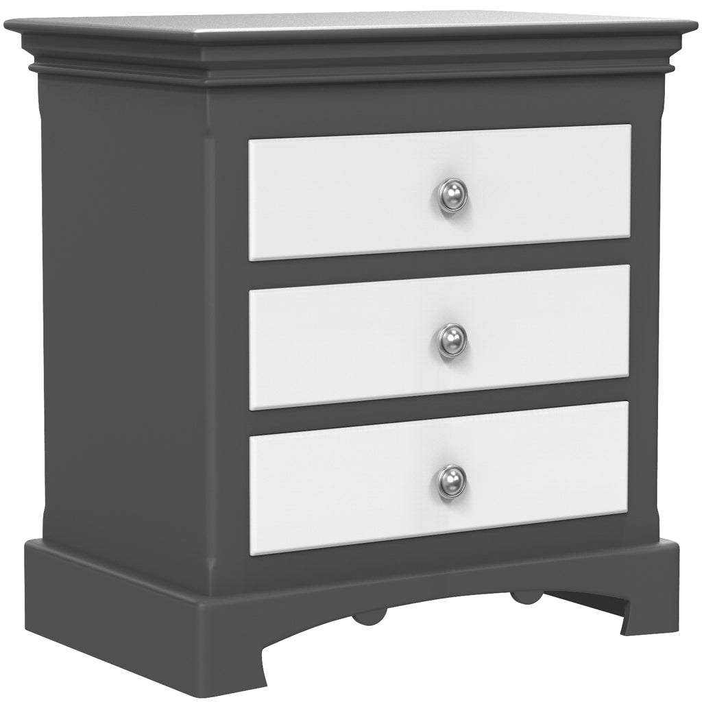 Bedside Table - 3 Drawers - Royal Collection - Adult - Dark Gray and White