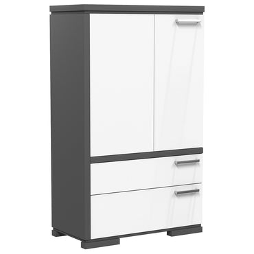 Wardrobe - 2 Drawers and 2 Doors - Joe - Dark Gray and White
