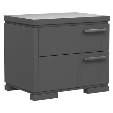 Bedside Table - 2 Drawers - Joe - Dark Gray