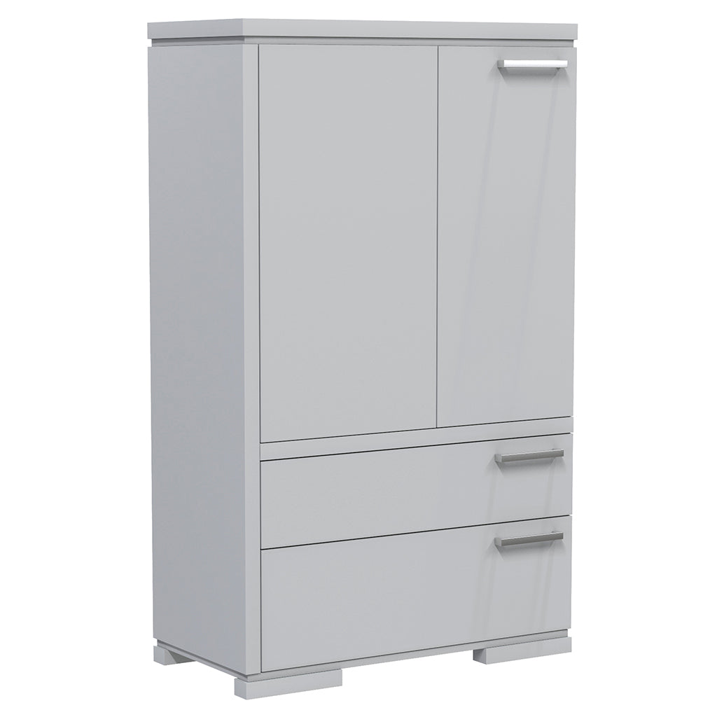 Wardrobe - 2 Drawers and 2 Doors - Joe - Pale Gray