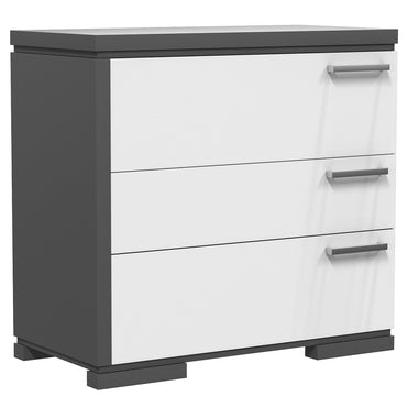 Desk - 3 Drawers - Joe - Dark Gray and White
