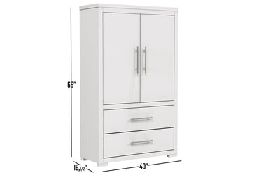 Barton wardrobe in wooden finish - White