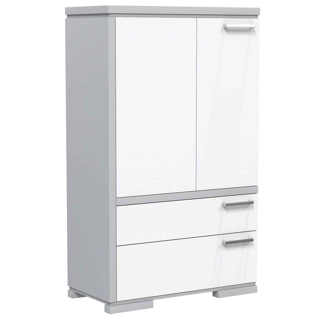 Wardrobe - 2 Drawers and 2 Doors - Joe - Pale Gray and White