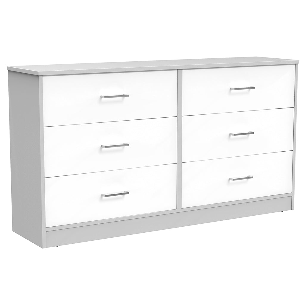 Double Desk - 6 Drawers - Bamboo - Pale Gray White