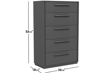 ANSON 5 DRAWER DESK - DARK GRAY