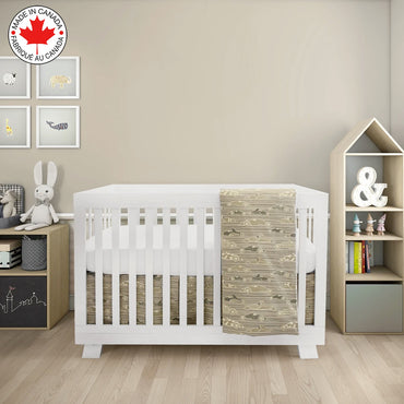 BEBELELO- 4 PIECE BEDDING FOR BEIGE AND GREEN BABIES WITH A RACING CAR PATTERN- # 616