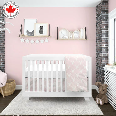BEBELELO- 4 PIECE BEDDING FOR PINK AND WHITE BABY WITH MOOSE PATTERN - # 465